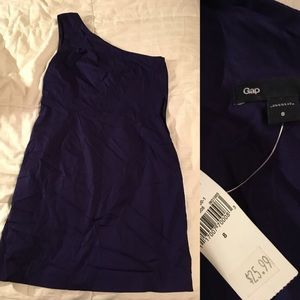 Gap One Shoulder Purple Dress Sz 8 NWT